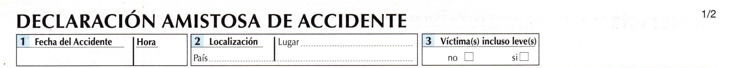 Declaración amistosa de accidente